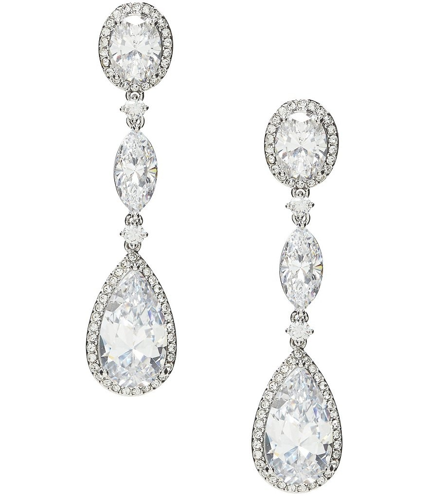 Nadri Oval Cubic Zirconia Drop Statement Earrings