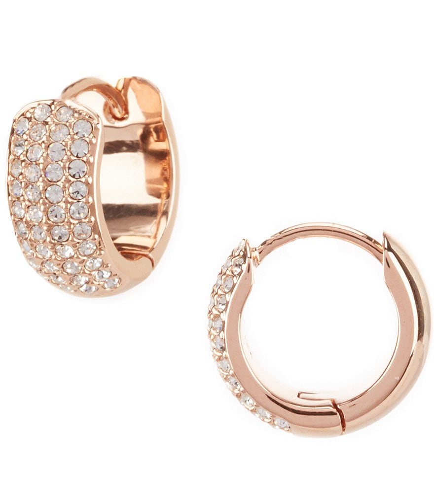 Nadri Pavé Wide Huggie Hoop Earrings