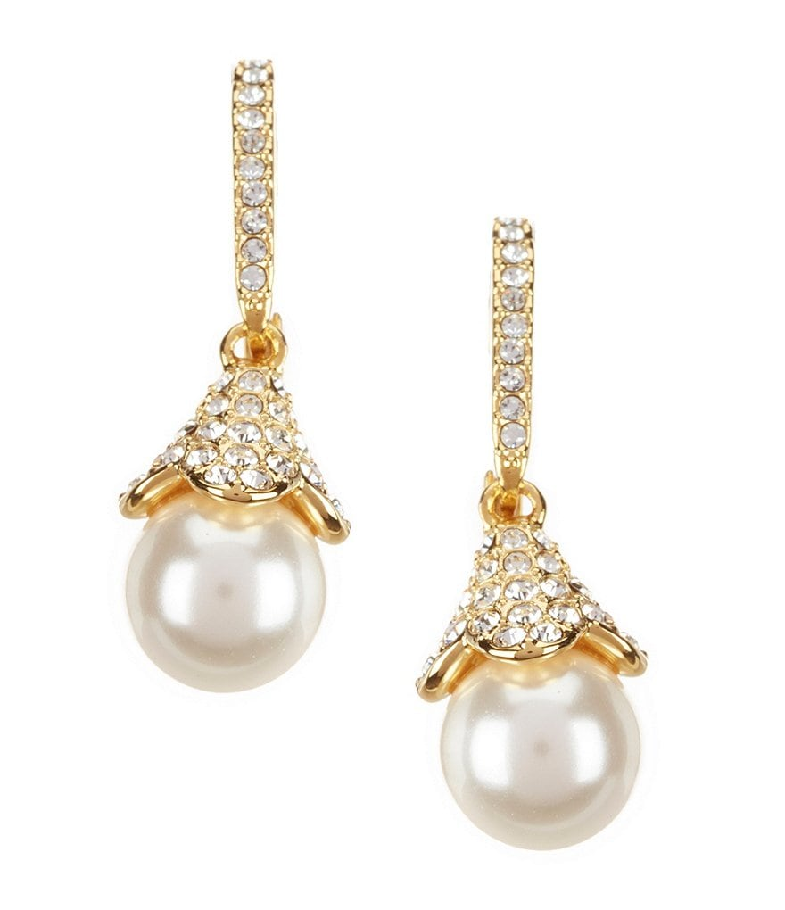 Nadri Pavé Faux-Pearl Drop Earrings