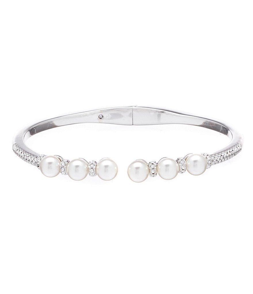 Nadri Pearl & Crystal Bangle Bracelet