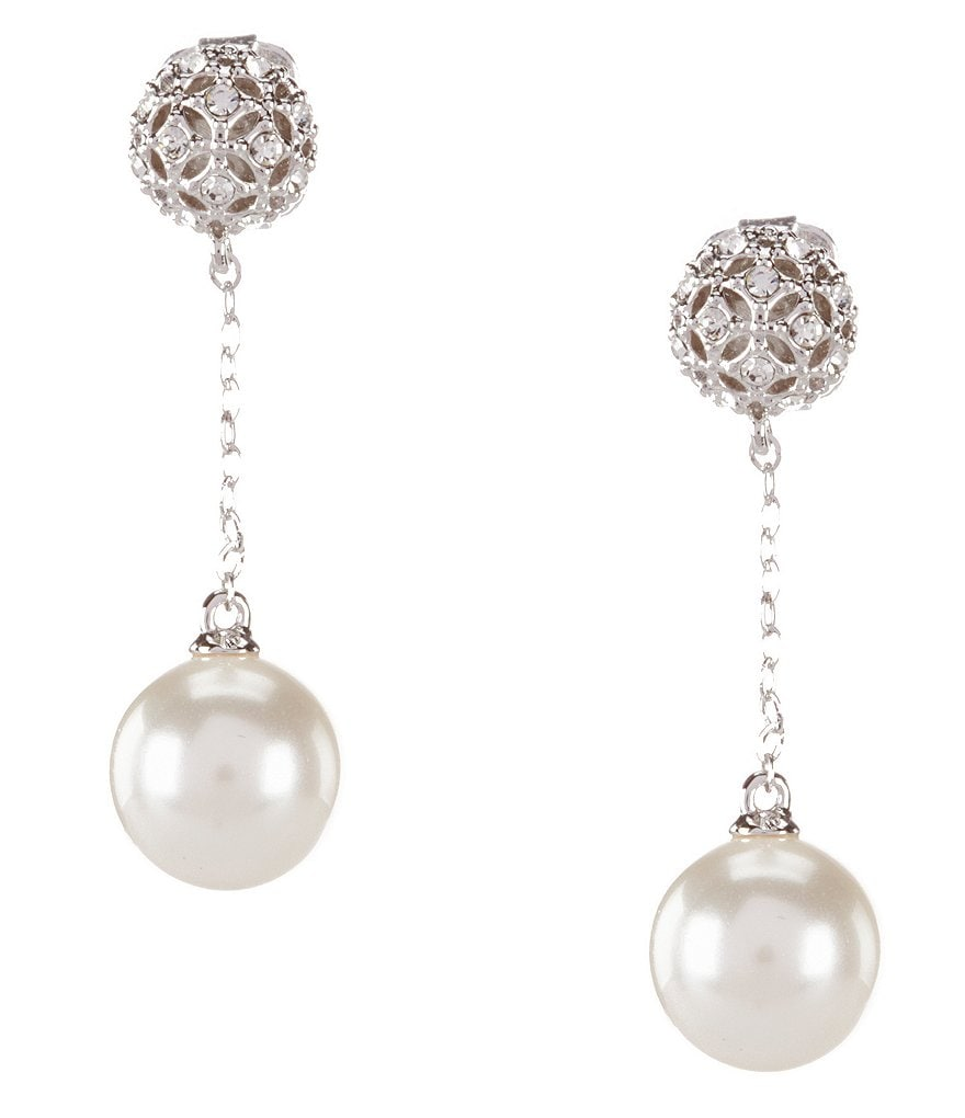 Nadri Faux-Pearl Drop Chain Statement Earrings