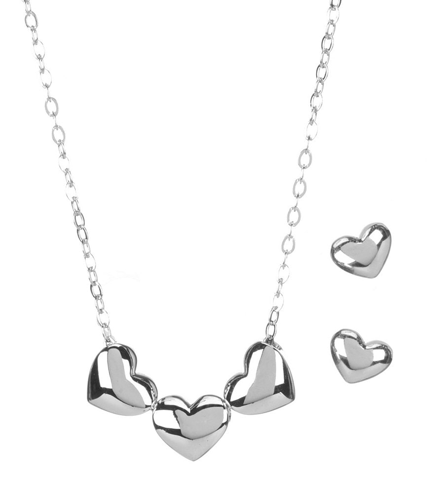 Nadri Trio Heart Necklace and Earring Set
