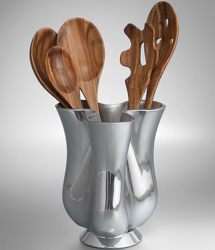 Nambe Tulip Tool Jug with Wood Tool Set