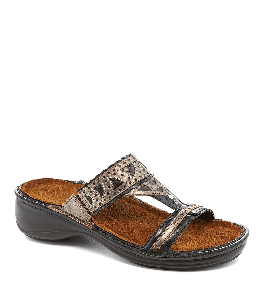 Naot Oleander Cutout Metallic Leather Detail Slide-On Sandals