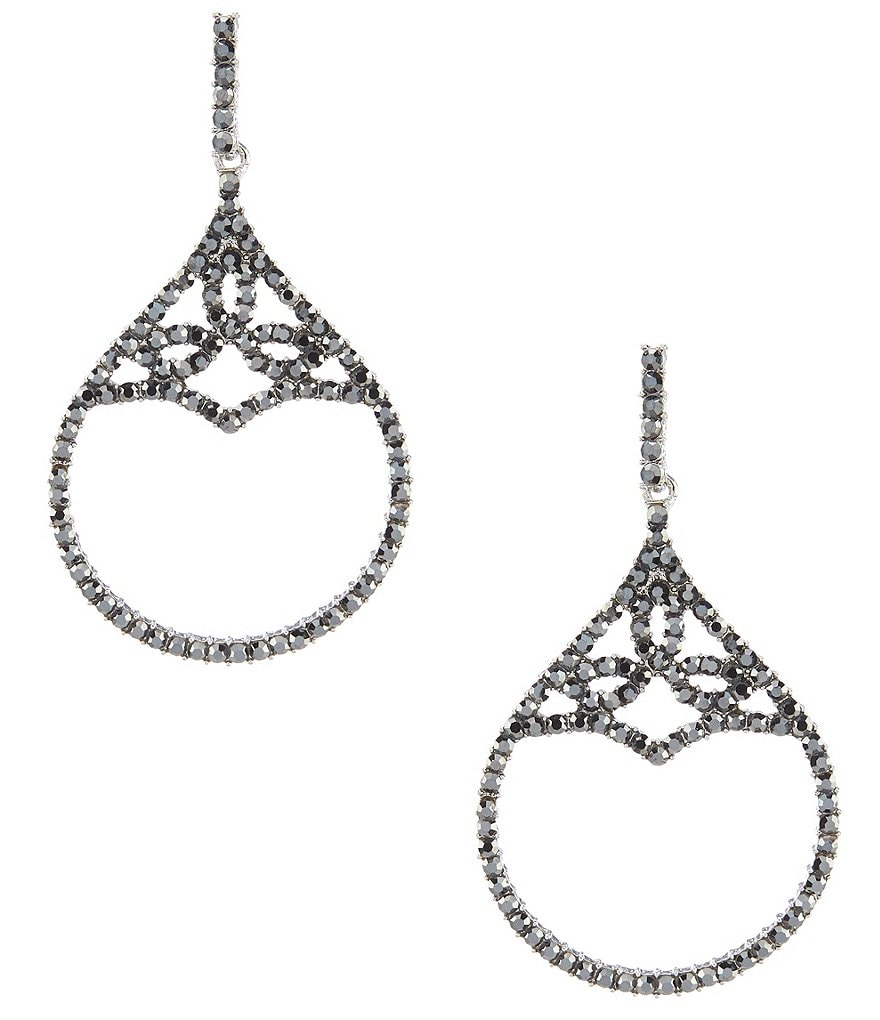 Natasha Accessories Beaded Crown Drop Statement Earrings