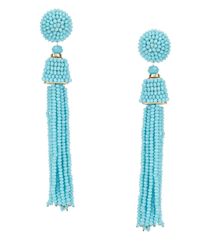 Natasha Accessories Beaded Tassel Statement Drop Earrings