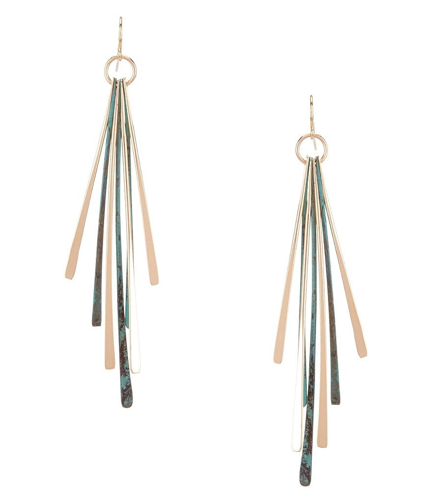 Natasha Accessories Patina Stick Linear Drop Earrings