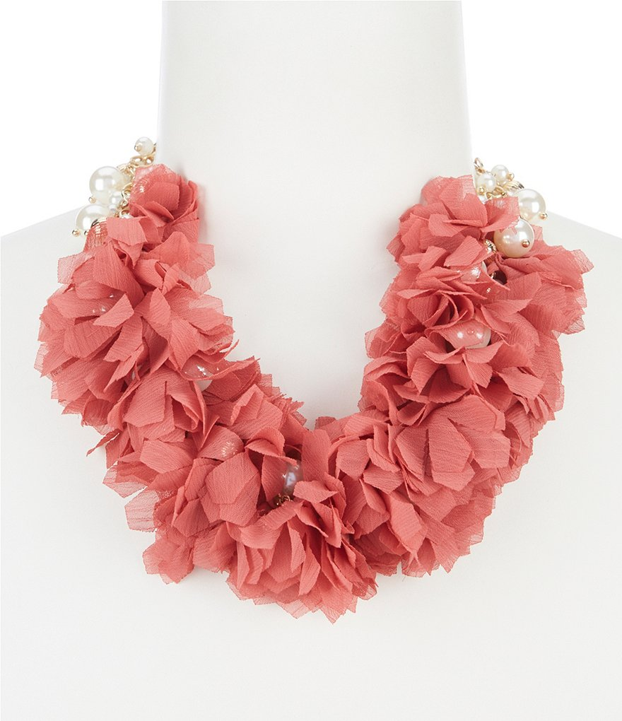 Natasha Accessories Pearl Fabric Collar Statement Necklace