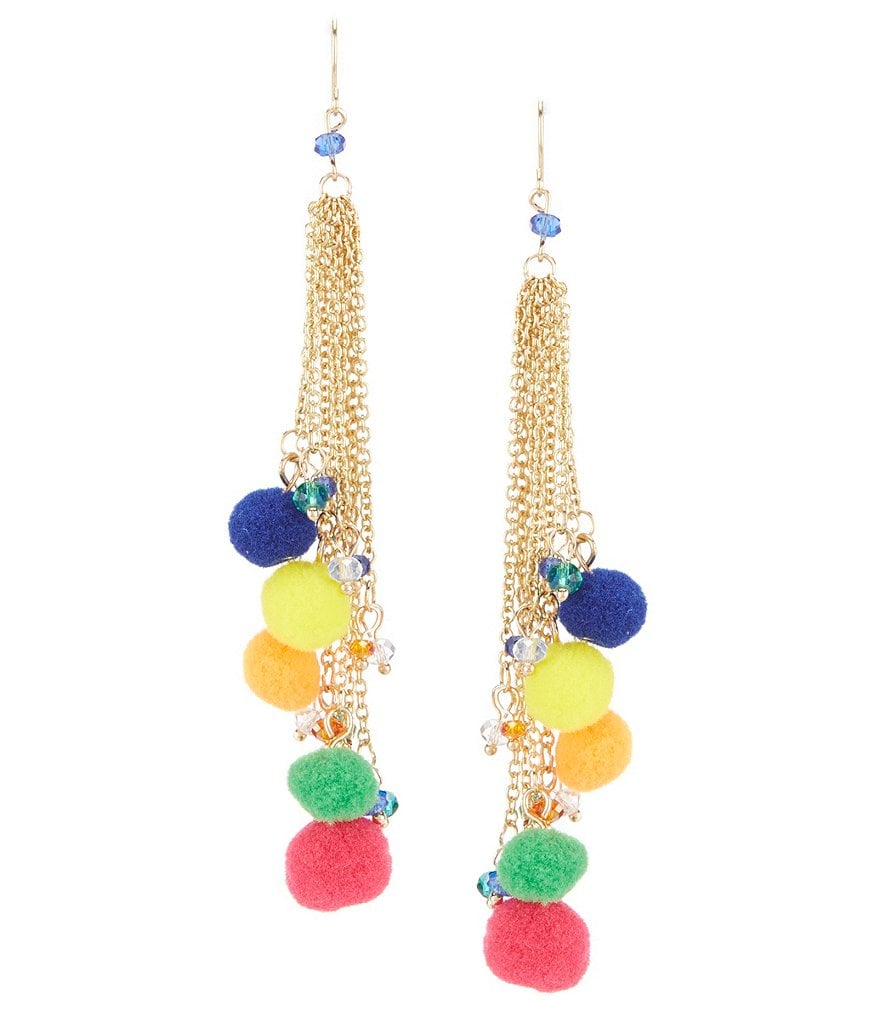 Natasha Accessories Pom Pom Drop Statement Earrings