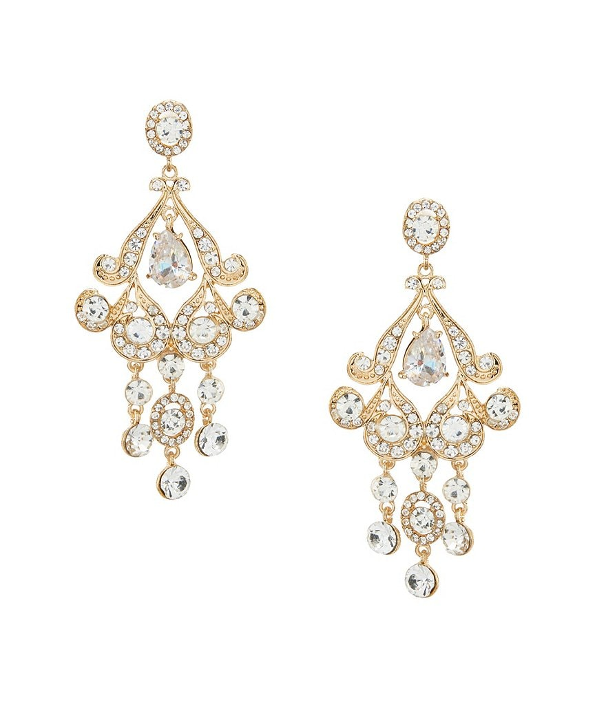 Natasha Accessories Scroll Chandelier Statement Earrings