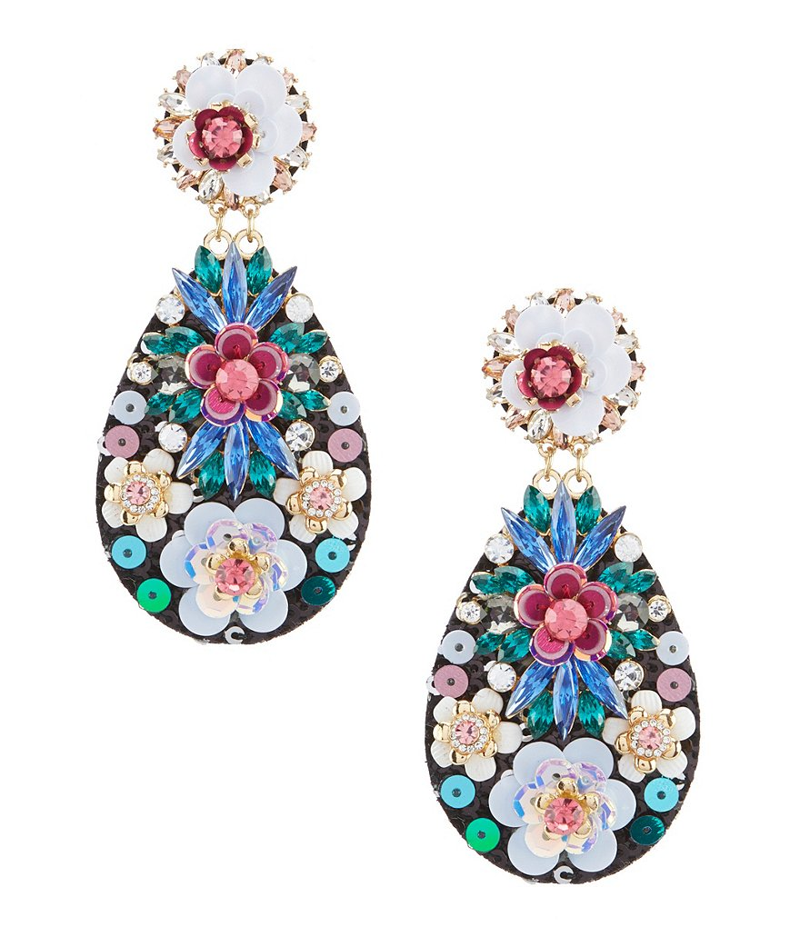 Natasha Accessories Sequin Statement Bib Earring