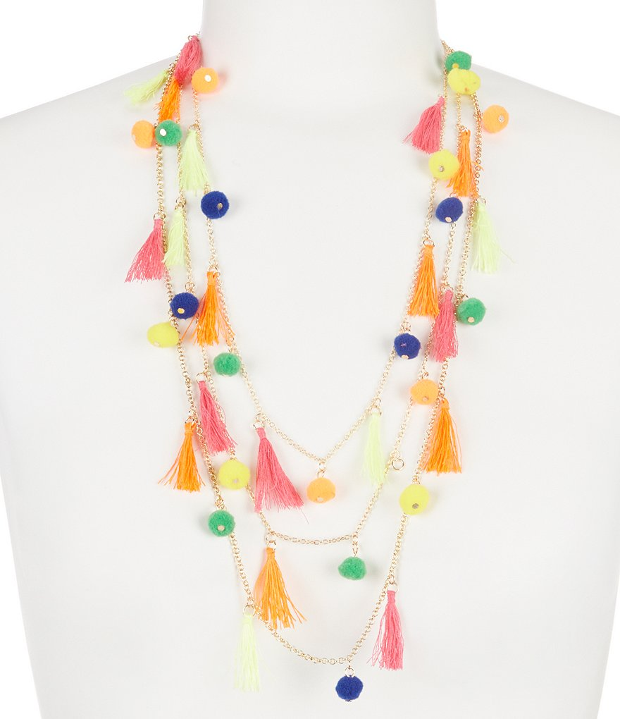 Natasha Accessories Tassel & Pom Pom Multi-Strand Necklace