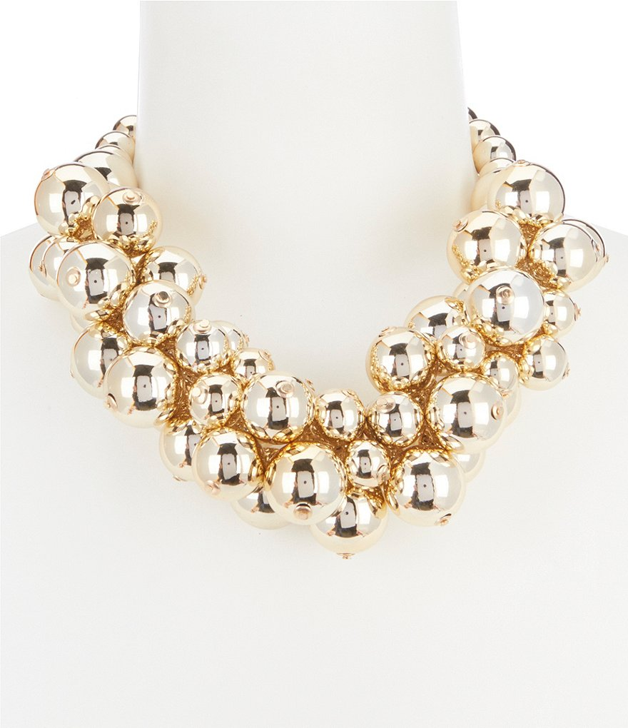 Natasha Cluster Metal Ball Statement Necklace