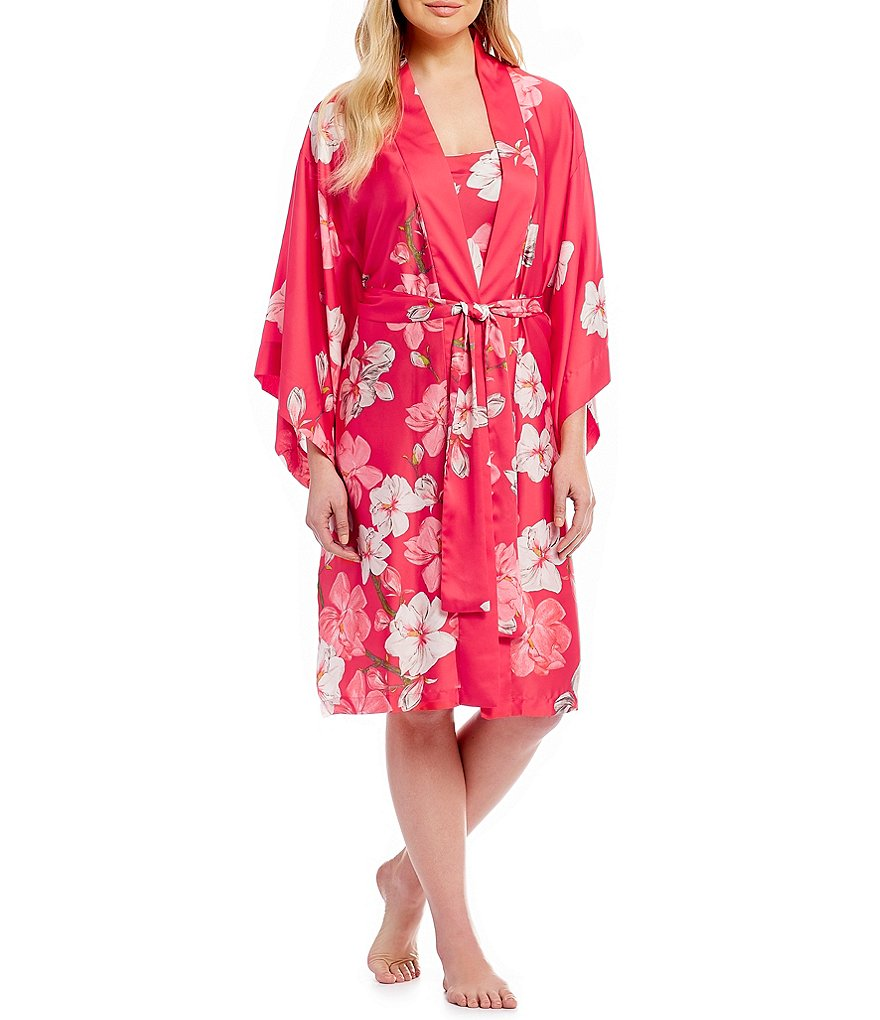 Natori Magnolia Satin Long Wrap Robe