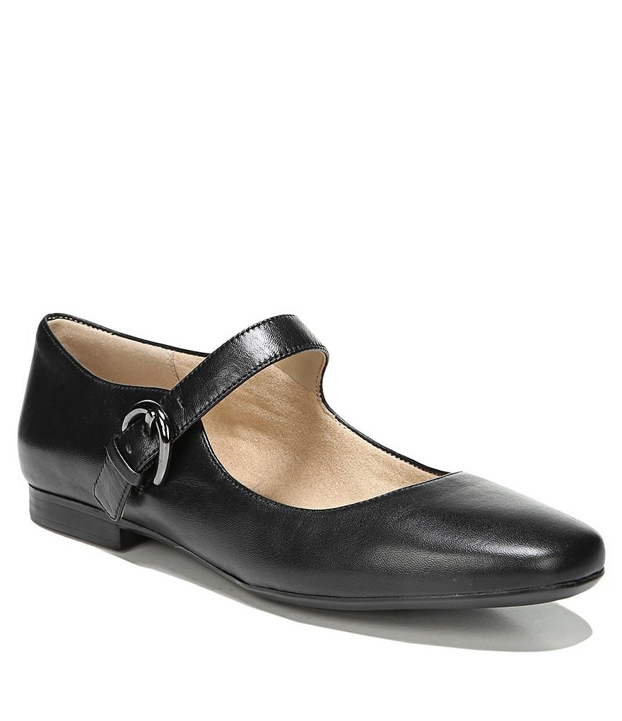 Naturalizer Erica Leather Buckle Closure Flats