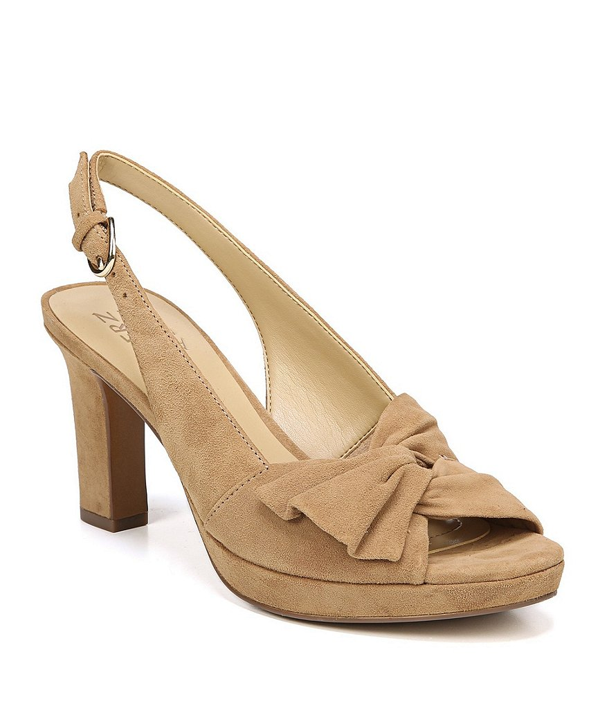 Naturalizer Fawn Suede Peep-Toe Slingback Pumps