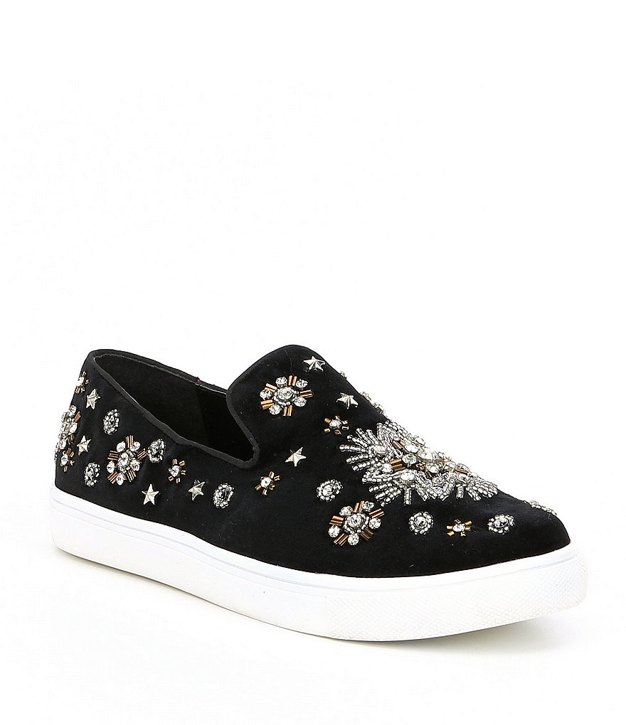 Naughty Monkey Andromeda Velvet Star Embellishment Slip-On Sneakers