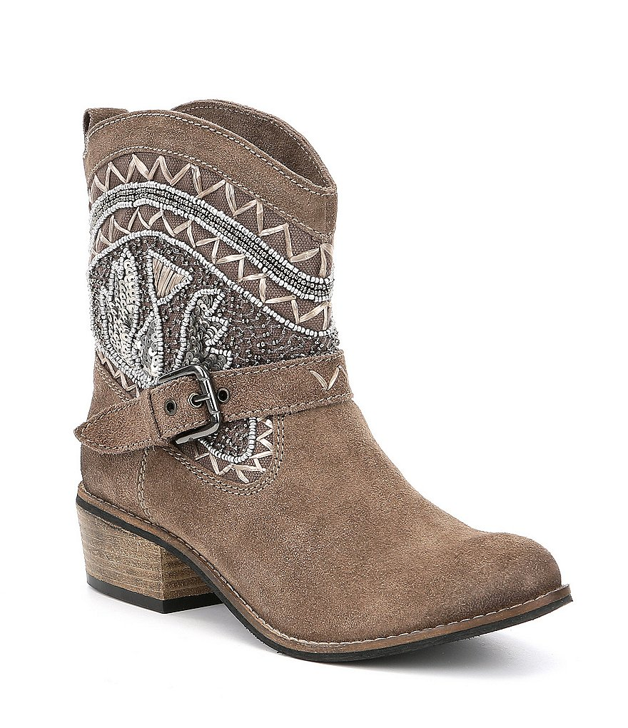 Naughty Monkey Deco Stytch Block Heel Booties