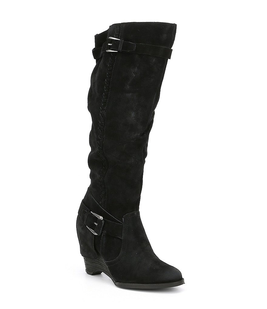 Naughty Monkey Double Up Suede Buckle Strap Wedge Boots