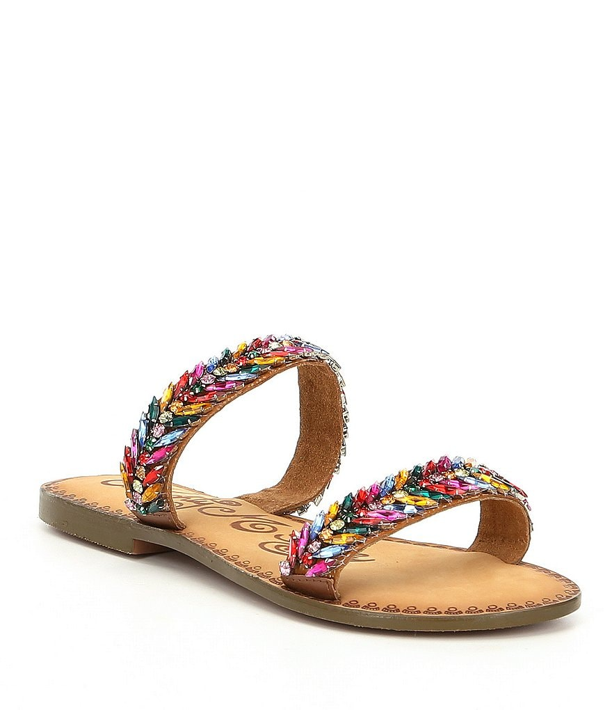 Naughty Monkey Shine Bright Beaded Embellishment Slide Sandals