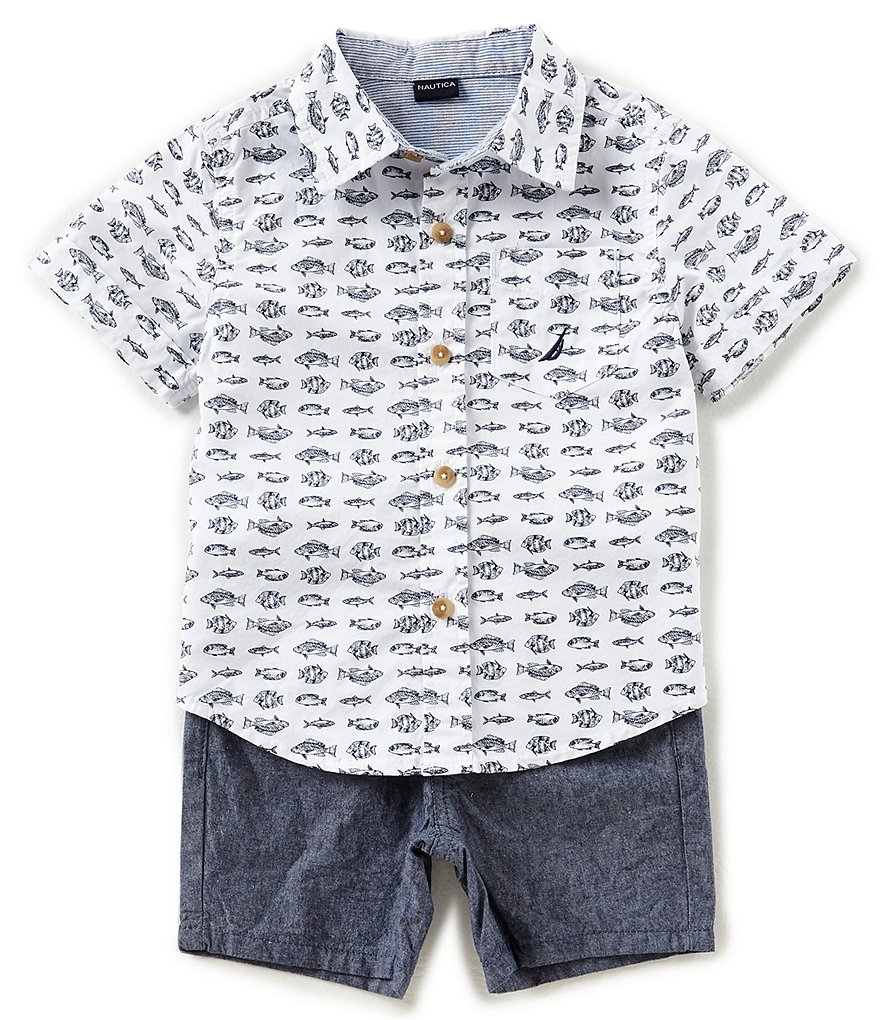 Nautica Baby Boys 12-24 Months Fish-Print Button-Down Shirt & Solid Shorts Set