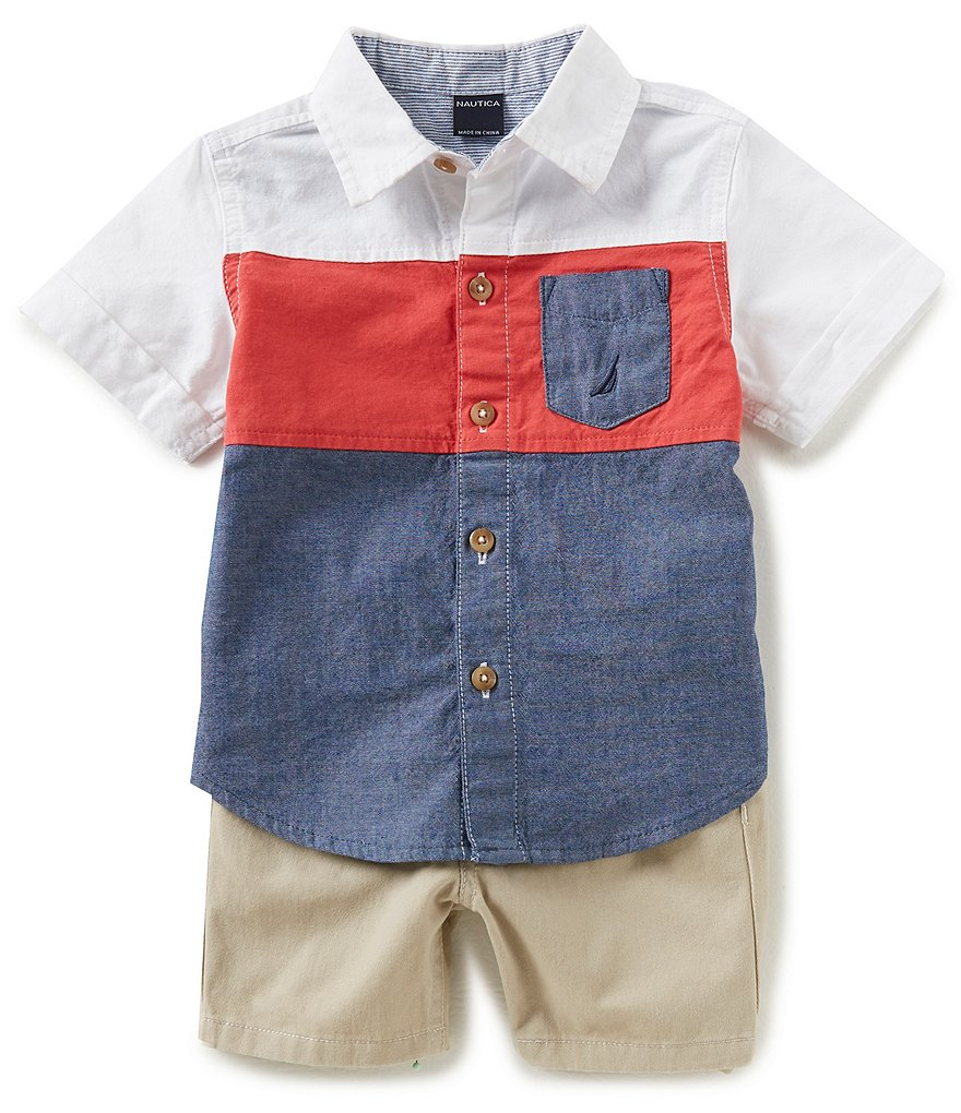 Nautica Baby Boys 12-24 Months Short-Sleeve Color Block Oxford Shirt & Soild Shorts Set