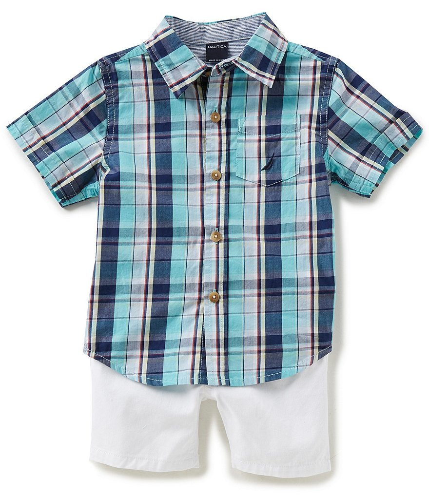 Nautica Baby Boys 12-24 Months Short-Sleeve Plaid Woven Shirt & Solid Twill Shorts