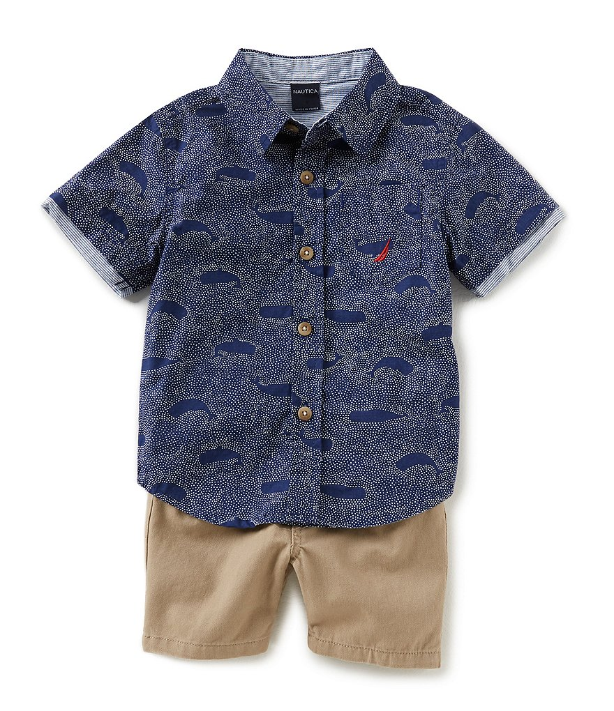 Nautica Baby Boys 12-24 Months Short-Sleeve Printed Poplin Shirt & Solid Twill Shorts