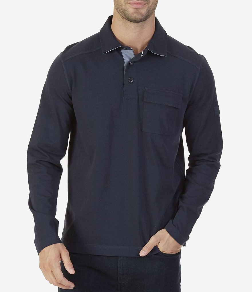 Nautica Big & Tall Classic Fit Long Sleeve Rugby Polo