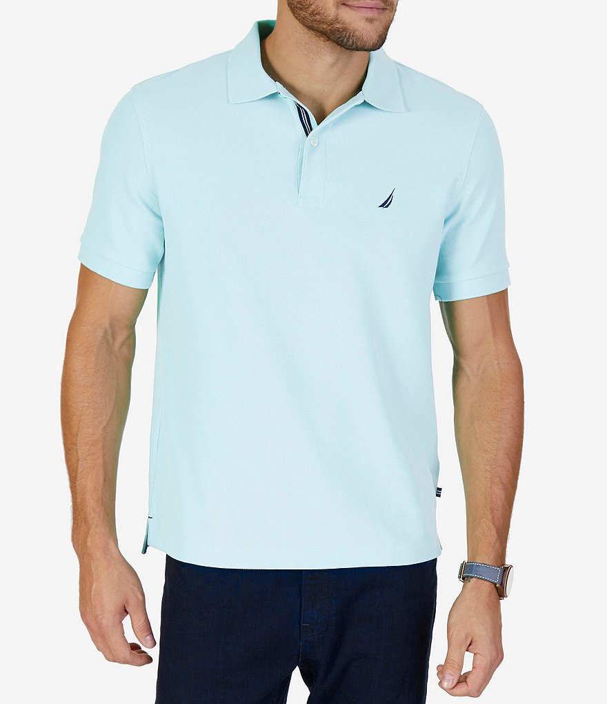 Nautica Big & Tall Solid Anchor Deck Short-Sleeve Polo Shirt