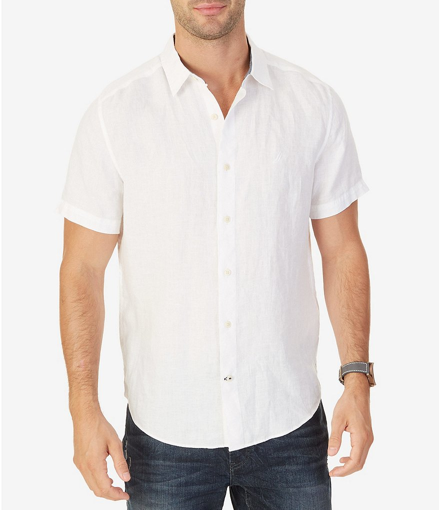 Nautica Big & Tall Solid Linen Short-Sleeve Woven Shirt