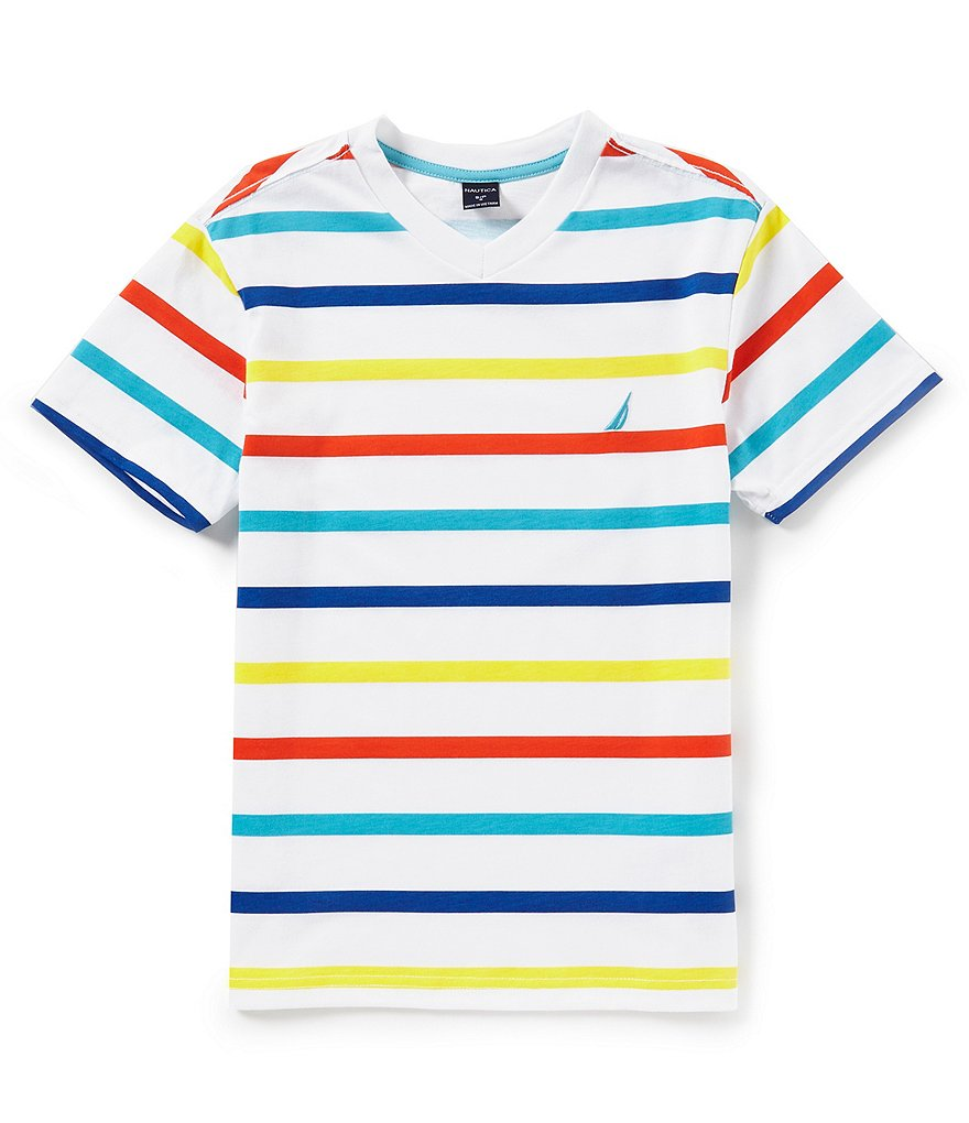 Nautica Big Boys 8-20 Justin Stripe V-Neck Short Sleeve Tee