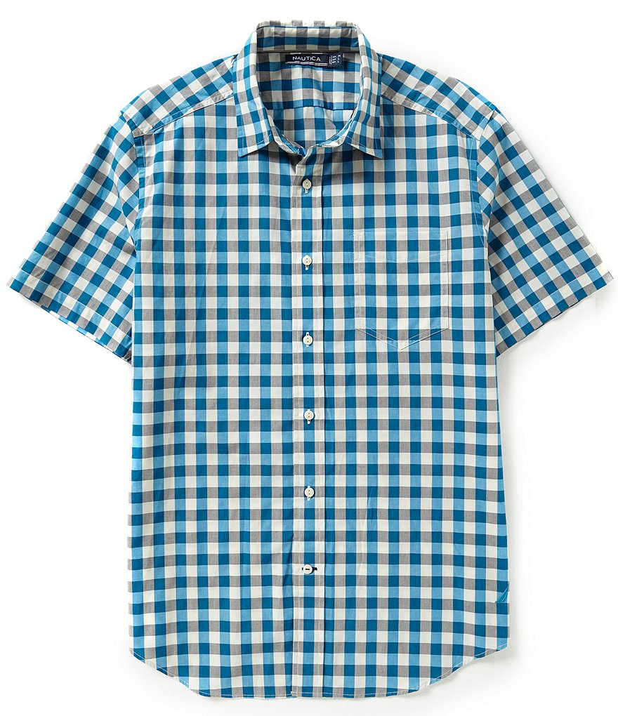 Nautica Checked Short-Sleeve Button-Front Shirt