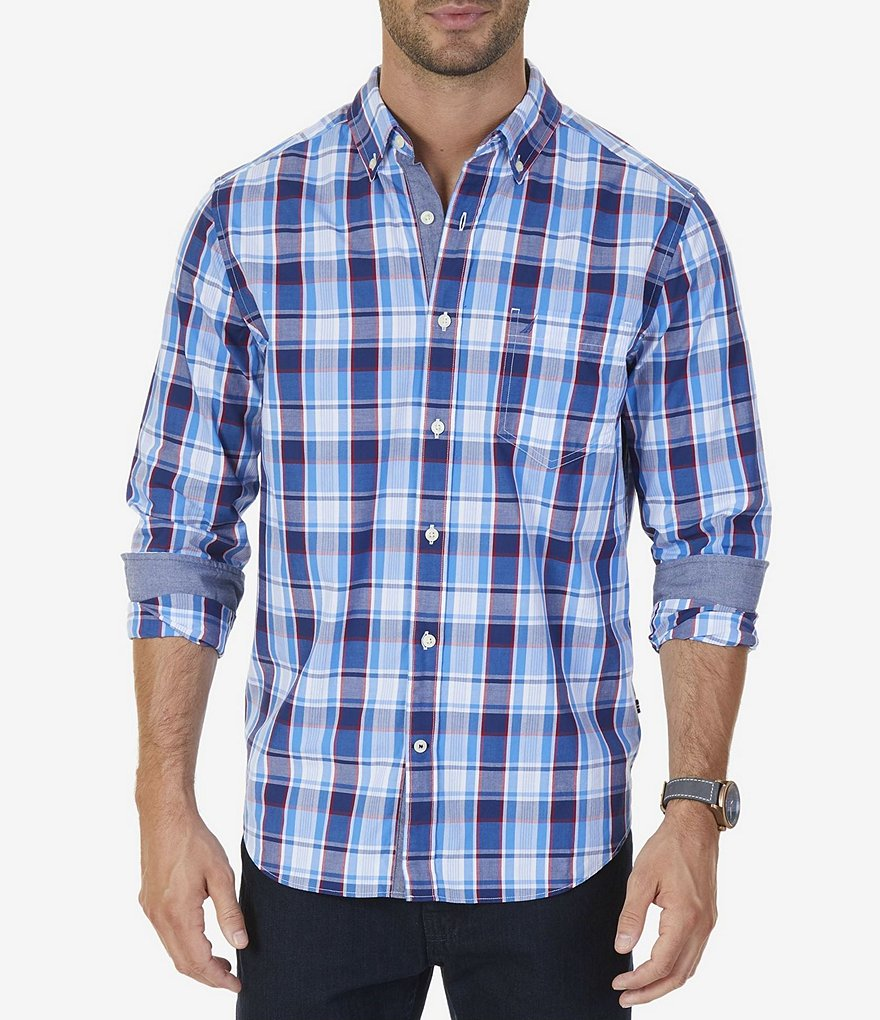 Nautica Classic Fit Multi Plaid Long-Sleeve Sportshirt
