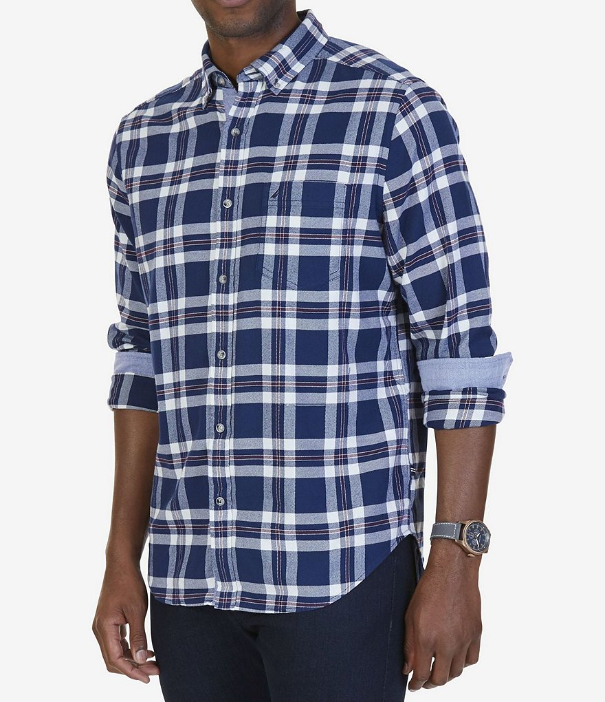 Nautica Classic Fit Plaid Flannel Long-Sleeve Shirt