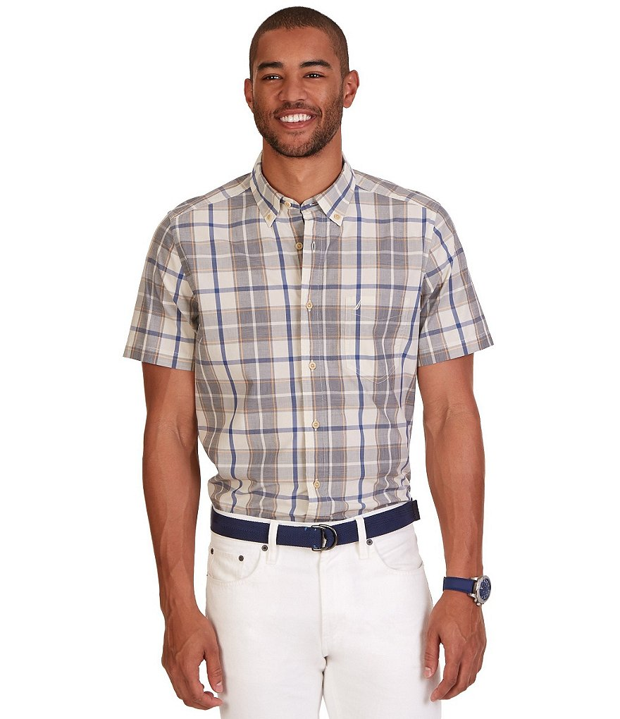 Nautica Classic-Fit Plaid Short-Sleeve Shirt