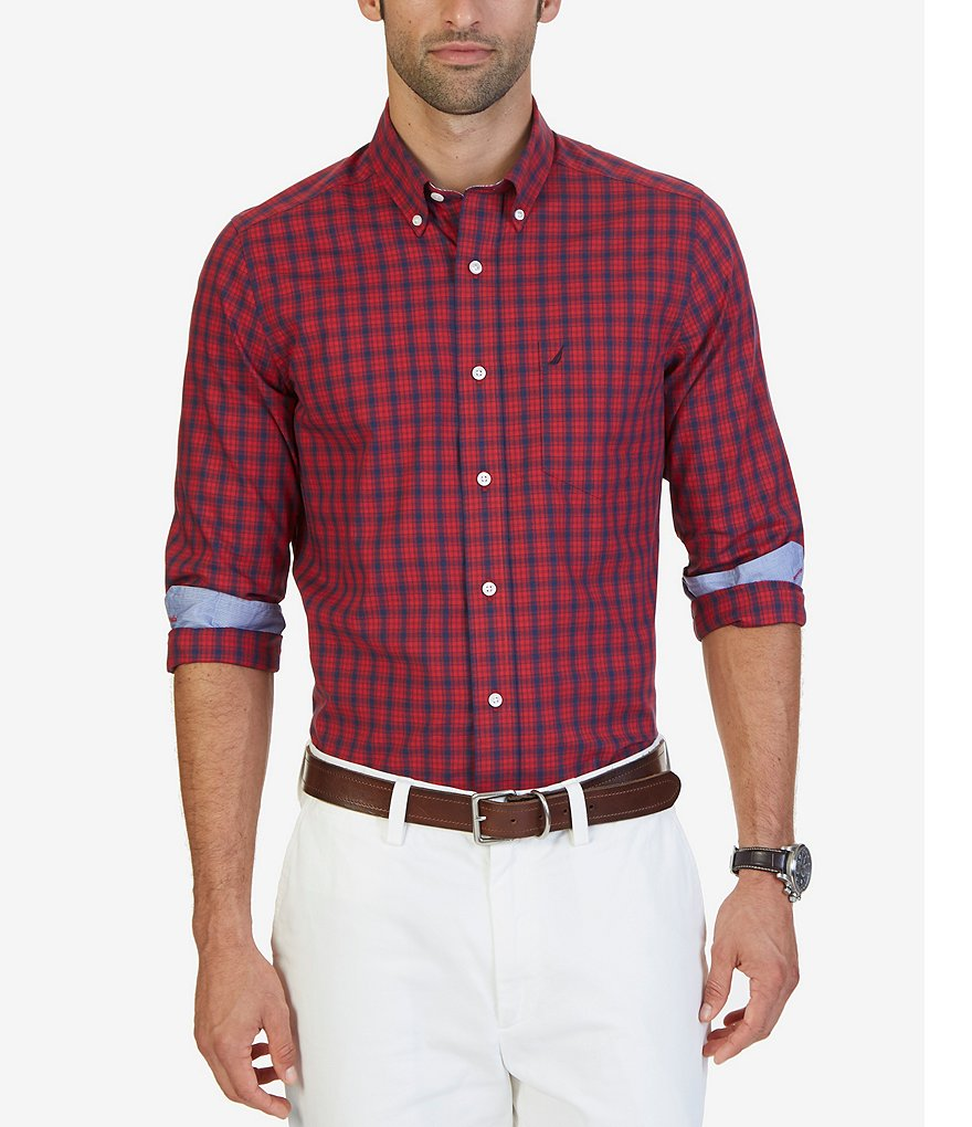 Nautica Classic-Fit Wrinkle-Resistant Marine Plaid Shirt