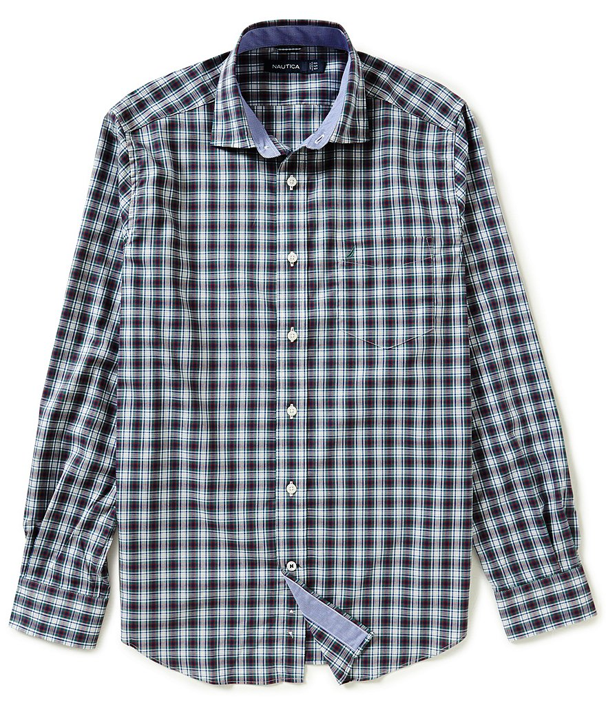 Nautica Classic Fit Wrinkle Resistant Whitecap Plaid Shirt