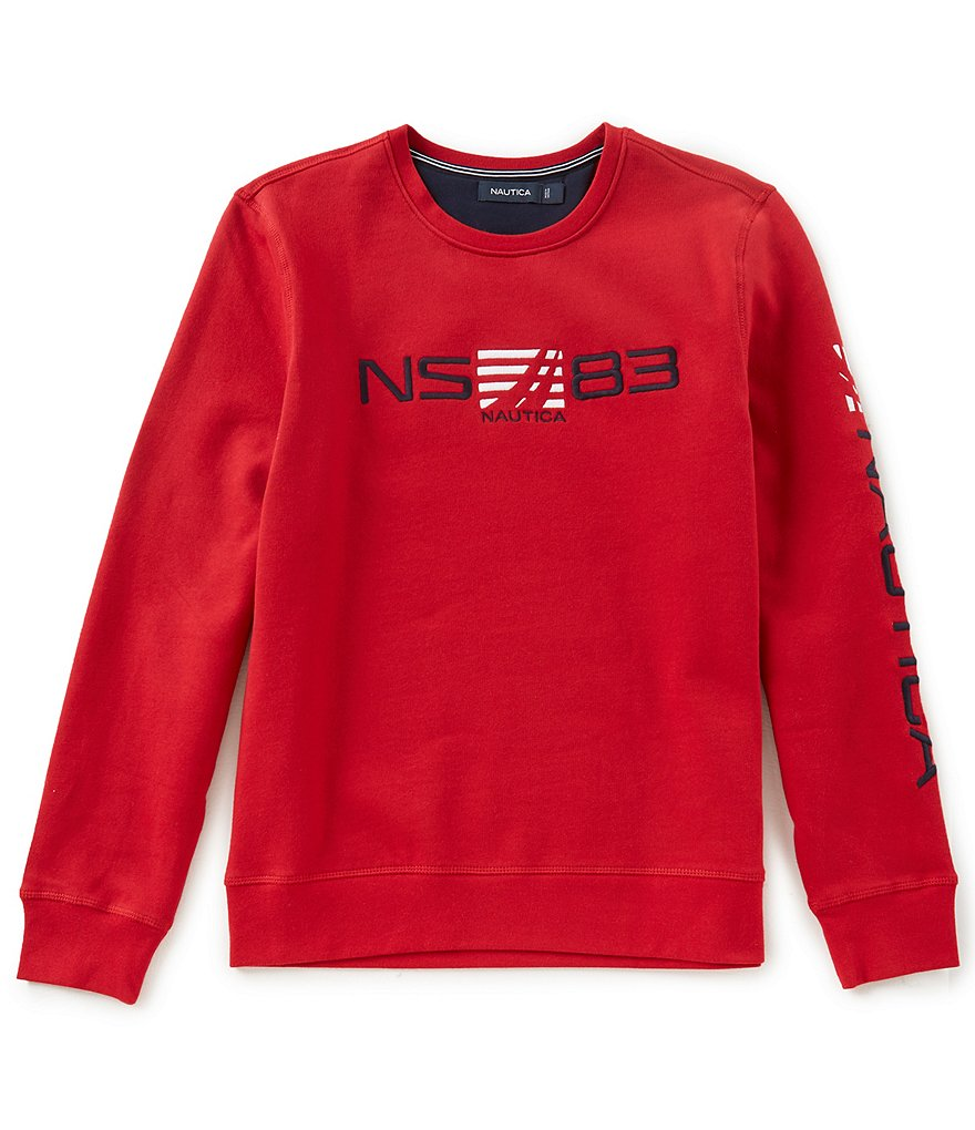 Nautica Long-Sleeve Graphic Crew-Neck Sweatshirt