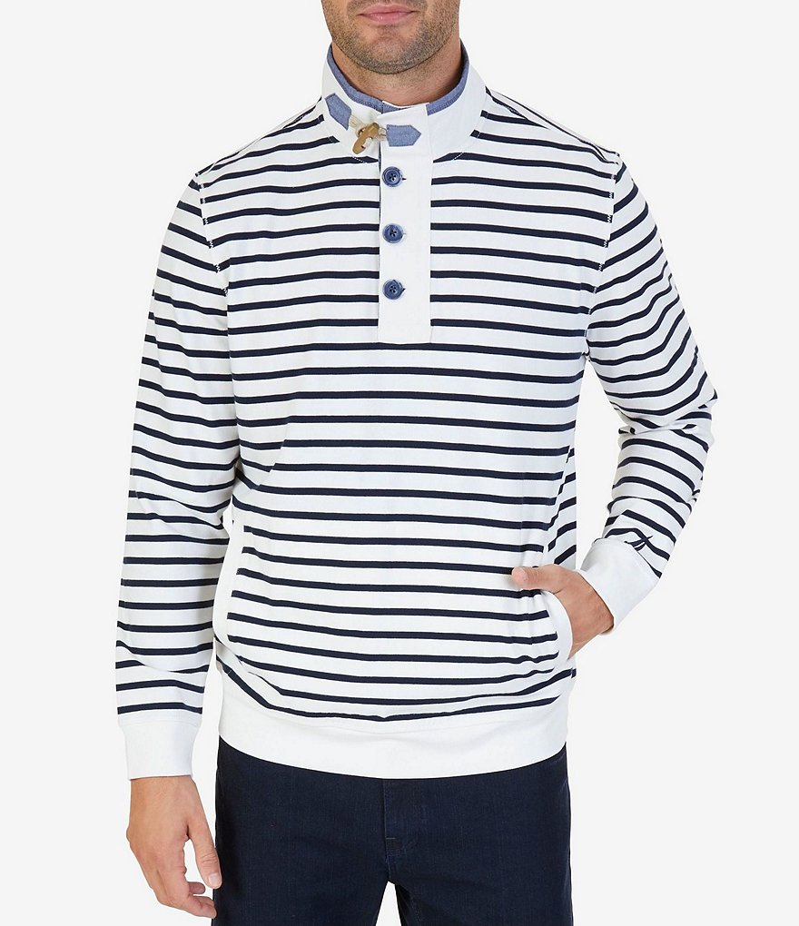 Nautica Long-Sleeve Heavy Jersey Funnel Neck Sweater