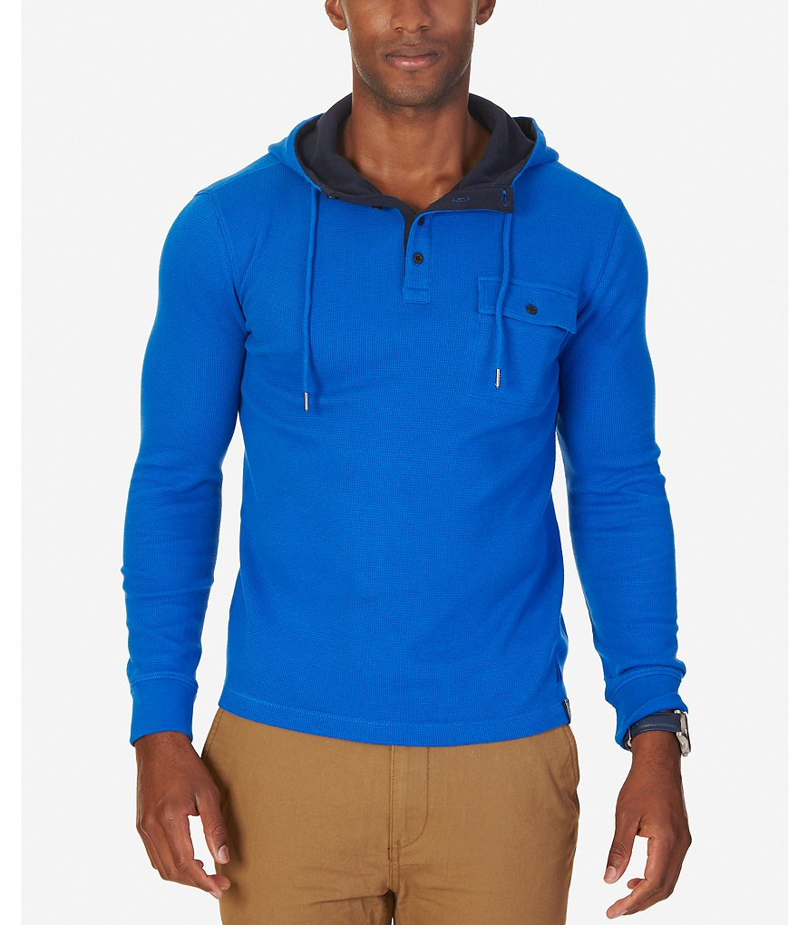Nautica Long-Sleeve Slim-Fit Hooded Henley Shirt
