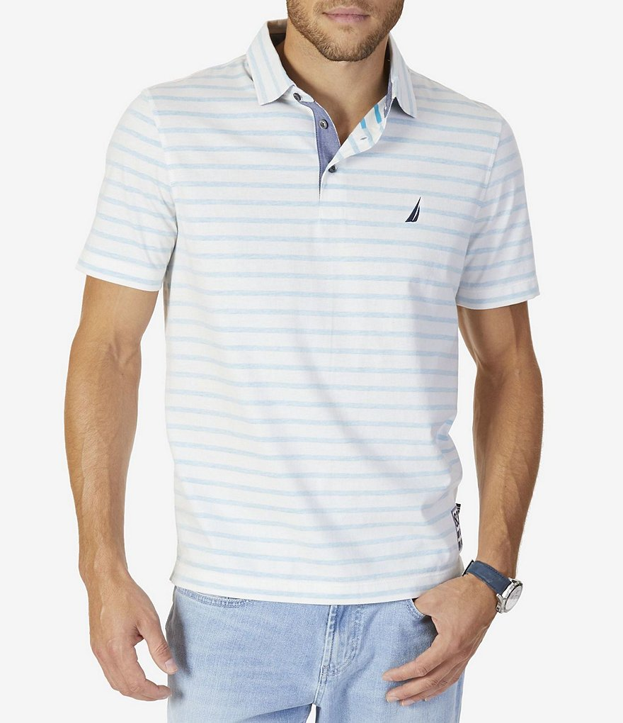 Nautica Reverse Stripe Short-Sleeve Classic Fit Polo