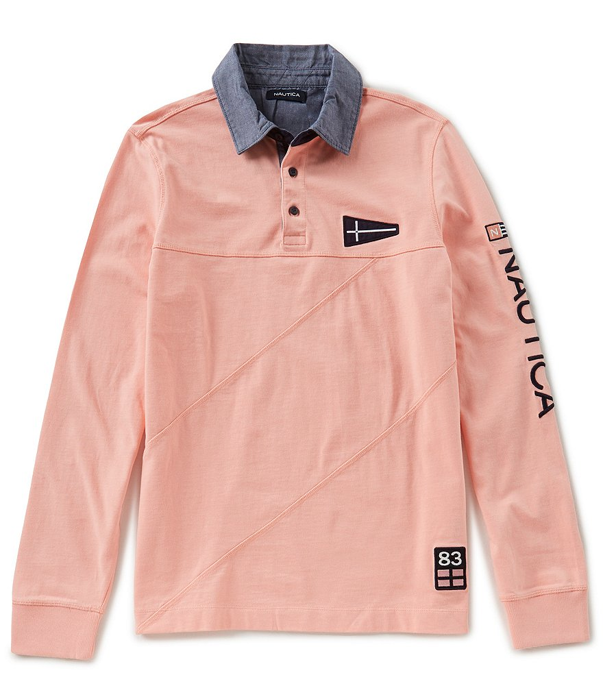 Nautica Slim Fit Pieced Signature Long Sleeve Polo Shirt