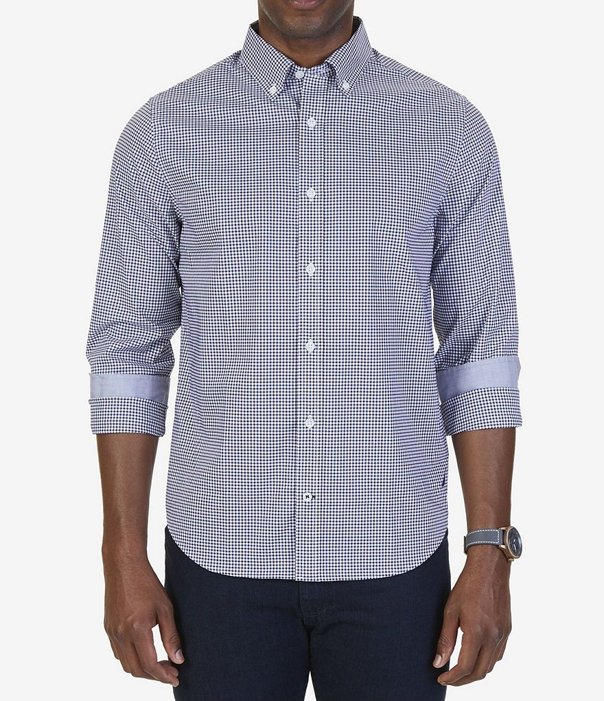 Nautica Slim Fit Wrinkle Resistant Mini Gingham Long-Sleeve Shirt