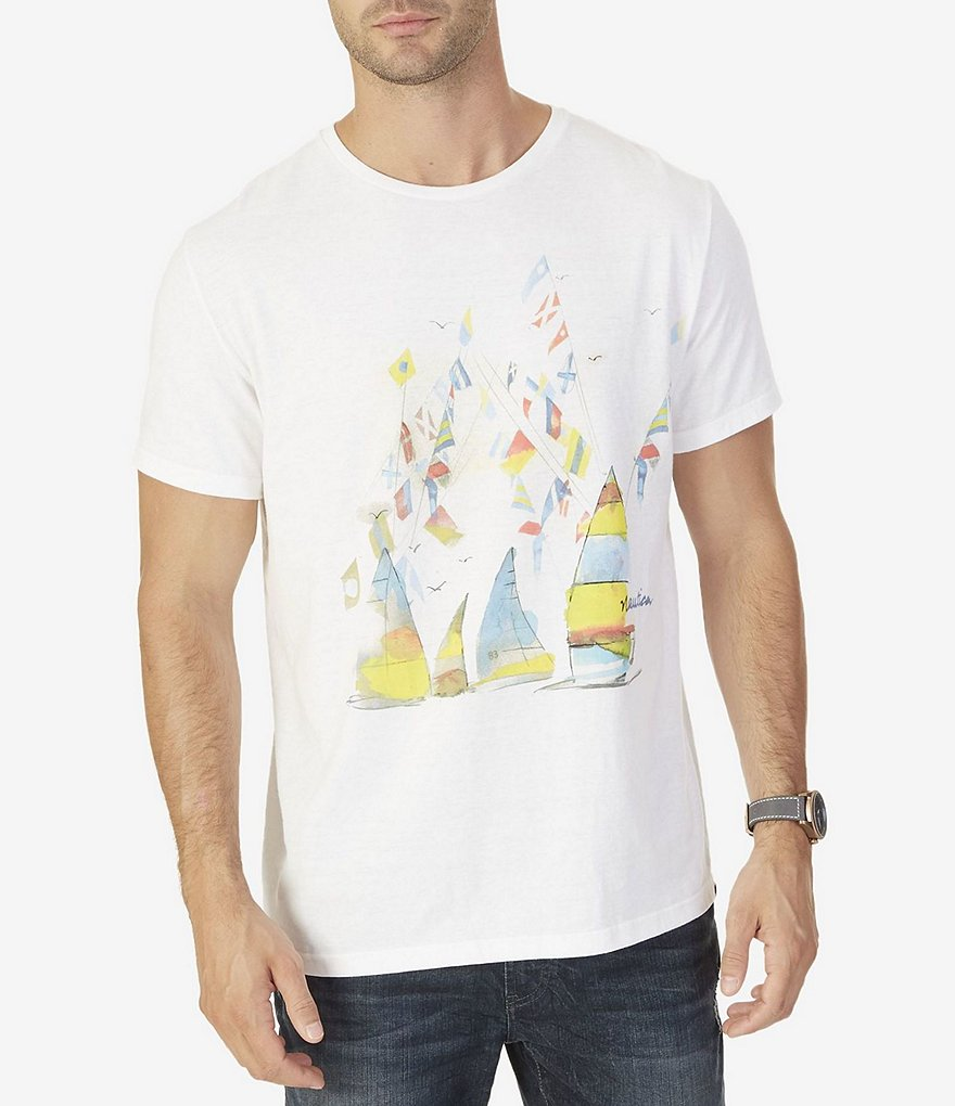 Nautica Watercolor Sailboats Short-Sleeve T-Shirt
