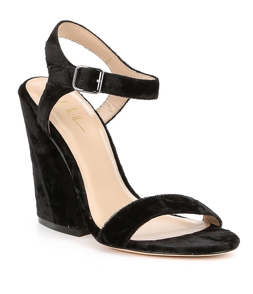 Nicole Miller Artelier Brescia Crushed Velvet Block Heel Dress Sandals
