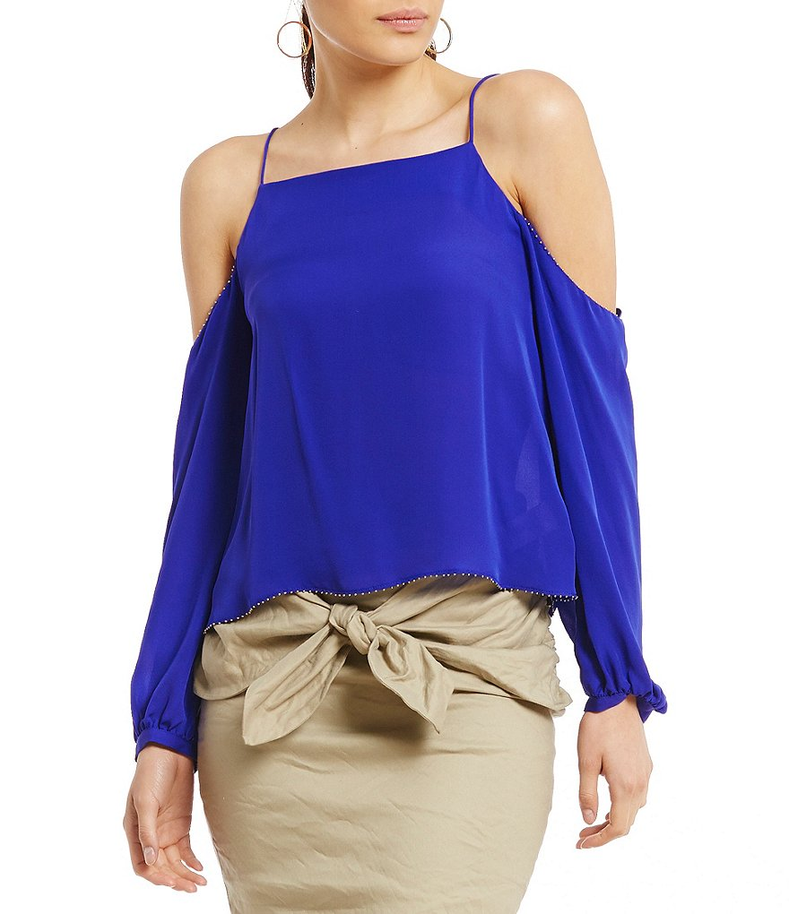 Nicole Miller Artelier Cold Shoulder Sleeve Silk Blouse