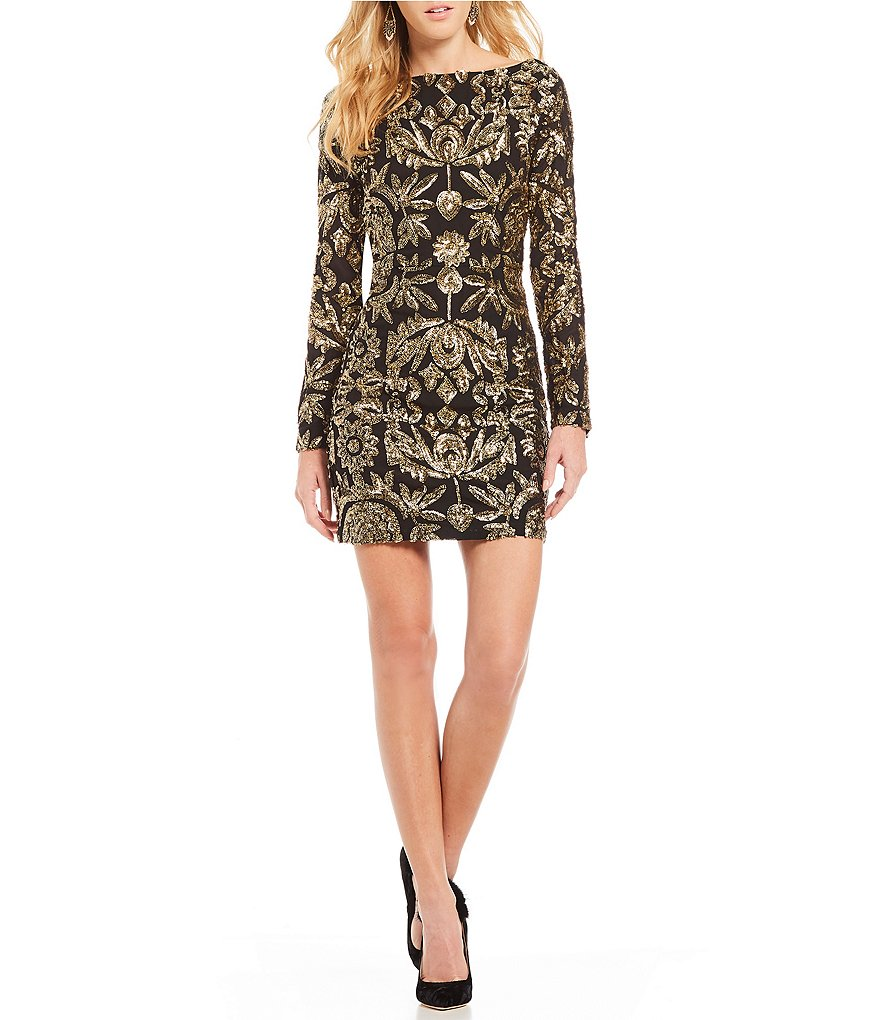 Nicole Miller Artelier Floral Sequin Sheath Dress