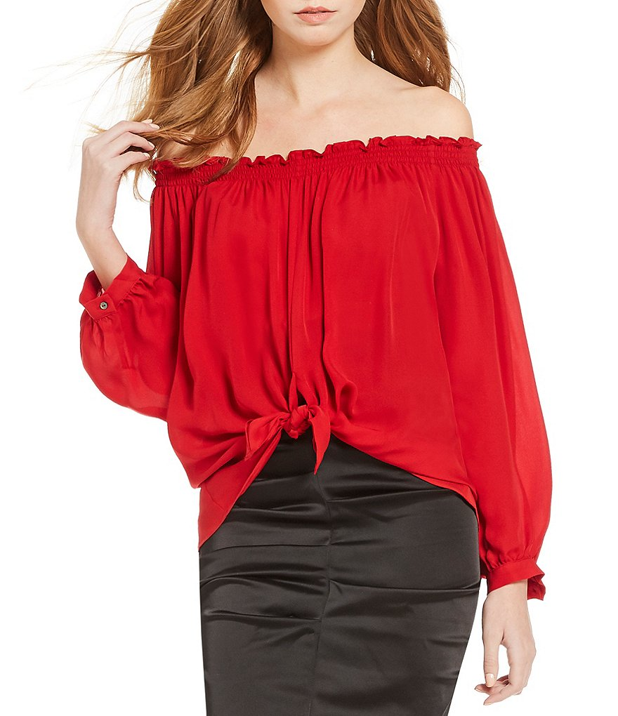 Nicole Miller Artelier Rocky Off-the-Shoulder Puffed Sleeve Tie Front Solid Top