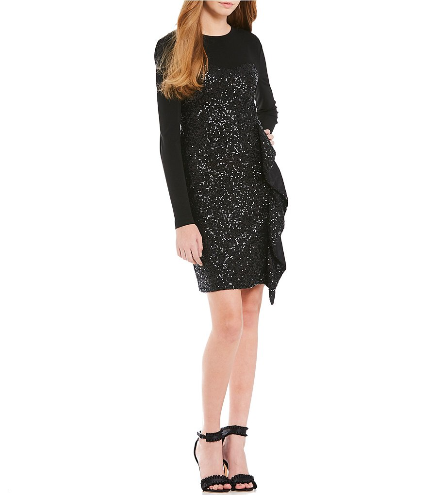 Nicole Miller Artelier Sequin Long Sleeve Sheath Dress